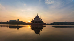 Time Lapse During Sunrise Behind Putrajaya Mosque Stock Footage