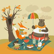 Animals at picnic in autumnal forest Stock Illustration