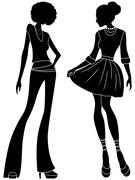 Abstract attractive ladies silhouettes Stock Illustration