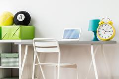 Clear teenager's room design boosting concentration Stock Photos