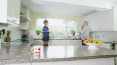 4K Time lapse of retired caucasian couple preparing lunch Stock Footage
