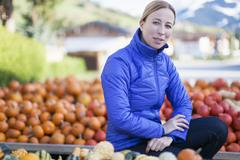 Austria, Salzburger Land, Maria Alm, Portrait of mature woman in blue jacket Stock Photos