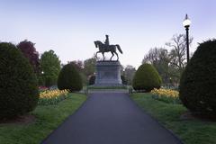Massachusetts, Boston, Statue of George Washington in Boston Public Garden Stock Photos