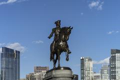 Massachusetts, Boston, Statue of George Washington against blue sky in Boston Stock Photos