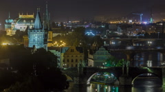 Scenic view of bridges on the Vltava river night timelapse and of the historical Stock Footage