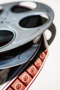 Close-up of film reel on white background Stock Photos