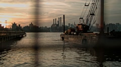 View to Manhattan from North Williamsburg shore. New York City. Stock Footage