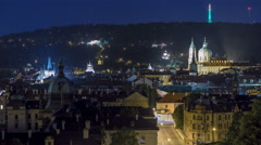 Night view of the church of saint nicolas with petrin hill behind it timelapse Stock Footage