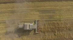Harvester gathers the grain harvest Stock Footage