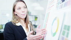 4K Attractive female professional giving a business presentation Stock Footage