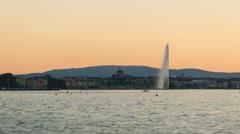 Geneva lake fountain day to night 4K ProRes Stock Footage
