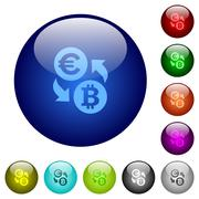 Color Euro Bitcoin exchange glass buttons Stock Illustration