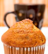 Muffins And Coffee Indicating Delicious Dessert And Cupcake Stock Photos