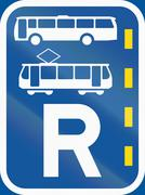 Road sign used in the African country of Botswana - Reserved lane for buses a Stock Illustration