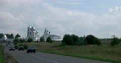 View men's Nikitsky monastery from the Pleshcheyevo lake Stock Footage