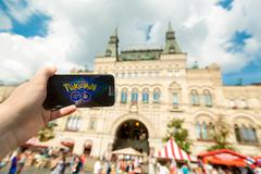 Russia, Moscow, Red Square - August 25: 2016 Smartphone with Pokemon Go Stock Photos