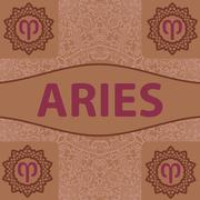 Hand-drawn zodiac Aries with ethnic floral geometric doodle pattern. Western Stock Illustration
