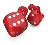 5 Red dice Stock Illustration
