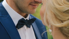 Close up wedding couple embraces Stock Footage