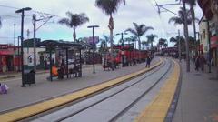 Public Transportation Metro Train Arriving At Stop - San Ysidro CA Stock Footage