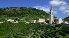 Prosecco country - Rolle di Cison di Valmarino - Verticall motion view Stock Footage