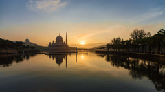 Dramatic Sunrise Time Lapse over Putra Mosque Stock Footage