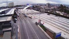 Vehicles Entering And Leaving Mexico At Border Crossing - San Ysidro CA Stock Footage