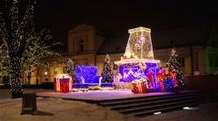 Krakowskie Przedmiescie in New Year, Warsaw Stock Footage