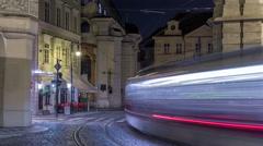 Night view of the illuminated malostranske namesti square timelapse hyperlapse Stock Footage