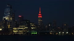 New York city skyline at night. Empire state building. View from Jersey city Stock Footage