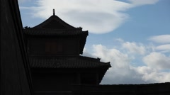 Archery Tower,Silhouette , Ancient Architecture of China Stock Footage