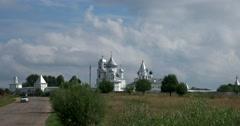 View of the Nikolsky men's monastery from the Pleshcheyevo lake Stock Footage