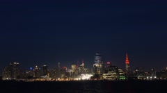 New York city skyline at night. View from Jersey city Stock Footage