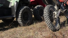 Tyres, Spring Suspension and Mechanism of Quad Bike and Motorbike Stock Footage