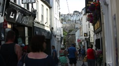 Crowds of people in the typical English city Stock Footage