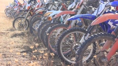Tyres of Moto Bikes During Moto Cross Competition Stock Footage