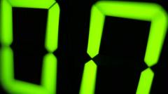 Macro digital watch counter timer. Green digit Stock Footage
