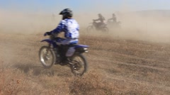 Motobikes at the Motocross and the Dust Stock Footage