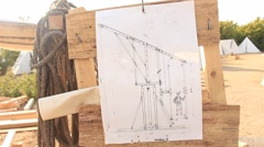 Sketch of the Architectural Construction During Historical Festival Stock Footage
