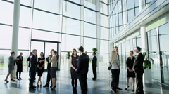 4KDiverse corporate business team standing in groups & chatting in modern office Stock Footage