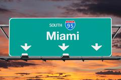Interstate 95 South to Miami Highway Sign with Sunrise Sky Stock Photos