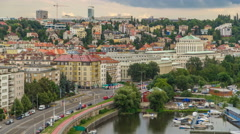 View of Prague timelapse from the observation deck of Visegrad. Prague. Czech Stock Footage