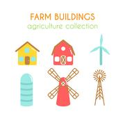Farm buildings illustrations. Farmer house and granary. Cowshed and windmill Stock Illustration