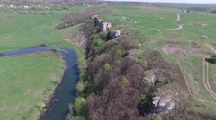 Flying over the river, the rock Stock Footage