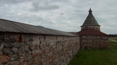 Solovetsky Monastery wall with tower Stock Footage