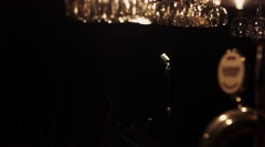 Bar stand of empty retro club. Concert microphone stand on stage under spotlight Stock Footage