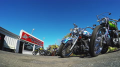 Moreland Choppers Exterior With Custom Motorcycles- Solana Beach CA Stock Footage