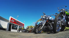 Moreland Choppers Exterior With Custom Motorcycles Zoom- Solana Beach CA Stock Footage