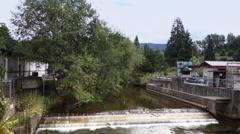 Establishing Shot of Dam at Fish Hatchery in Issaquah Washington Stock Footage