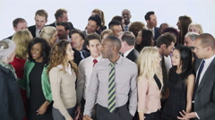 4K Happy, diverse group of business people isolated on white Stock Footage